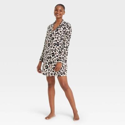 Women's Beautifully Soft Animal Print Notch Collar Gown - Stars Above™ Tan