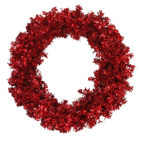 Vickerman  Prelit Red Hot Wide Cut Tinsel Artificial Christmas Wreath Red Lights