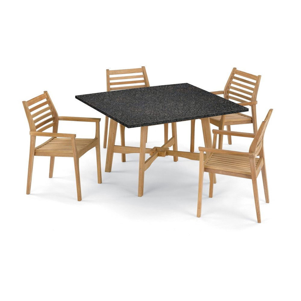 5pc Wexford 48 Dining Table & Mera Stacking Armchair Set Charcoal (Grey) - Oxford Garden