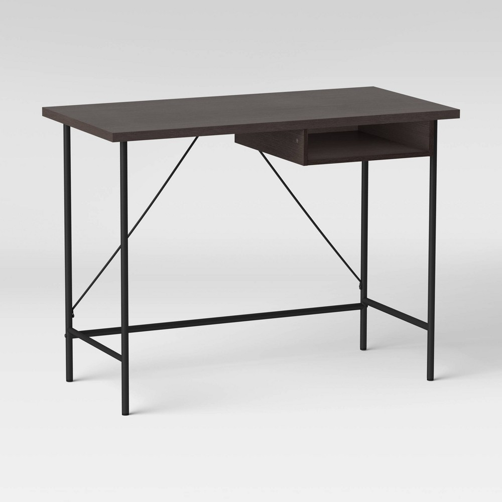 Wood And Metal Writing Desk With Storage Espresso Room Essentials 8482
