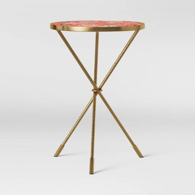 Paeonia Print Glass Top Accent Table with Brass Base Pink - Opalhouse™