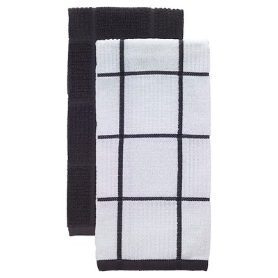 Charcoal/Dark Gray Parquet Kitchen Towel 2 Pack (16 x26 )T-Fal