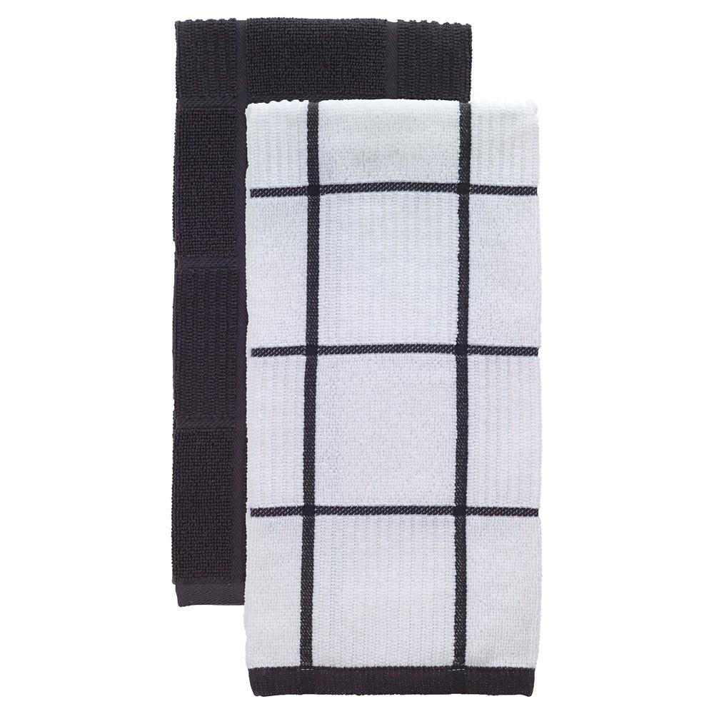 "Image of ""Charcoal/Dark Gray Parquet Kitchen Towel 2 Pack (16""""x26"""") T-Fal, Grey/Dark Gray"""
