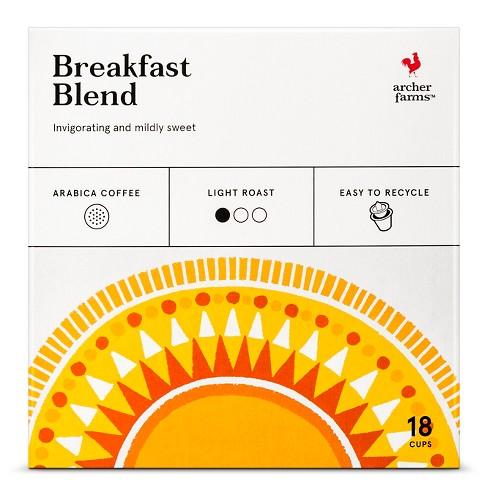 Breakfast Blend Light Roast Coffee - Single Serve Pods - 18ct - Archer Farms™ - image 1 of 4