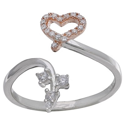 Women's Heart and Vine Ring with Clear Pave Cubic Zirconia in Sterling Silver - Clear/Rose