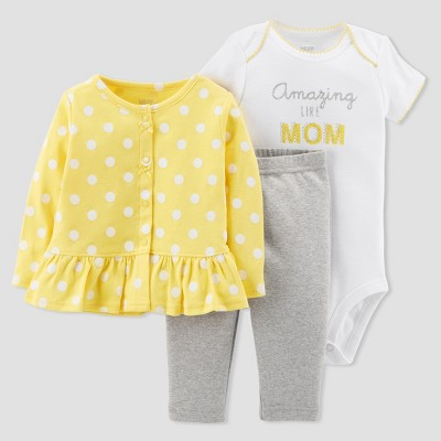 Baby Girls' 3pc Cardigan Set - Just One You® made by carter's Yellow/Gray 9M