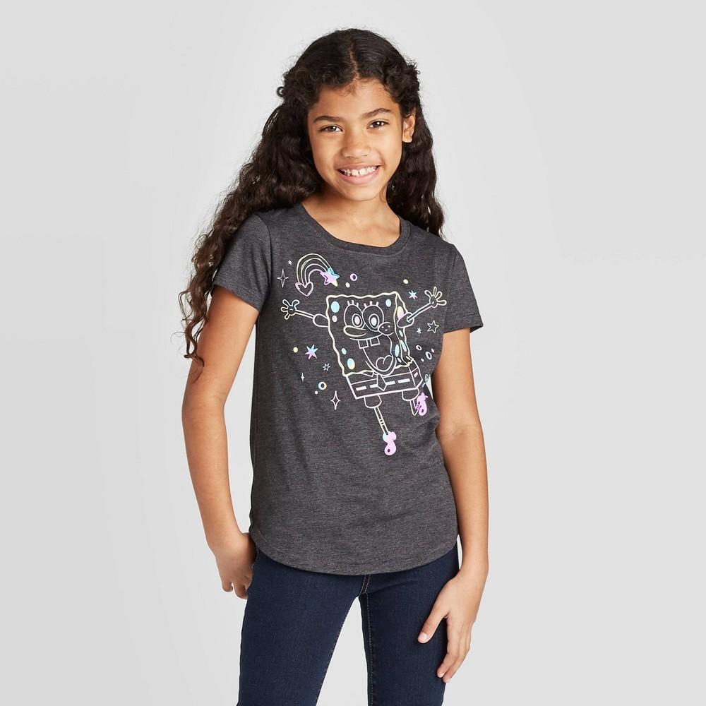 Image of Girls' SpongeBob T-Shirt - Gray XS, Girl's