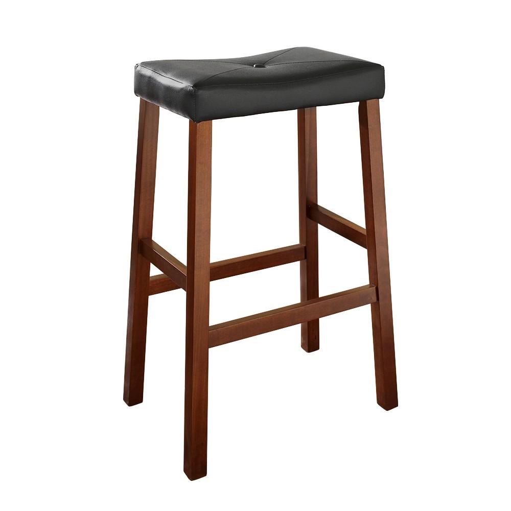 Upholstered Saddle Seat Bar Stool (Set of 2) Classic Cherry (29) - Crosley, Midnight Cherry