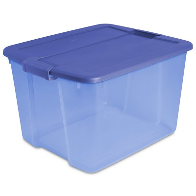 Latch Box Blue Tint with Blue Lid and Latches 66qt - Room Essentials™