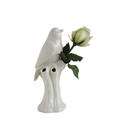 "Stoneware Bird Vase (10"") - White - 3R Studios - image 1 of 3"