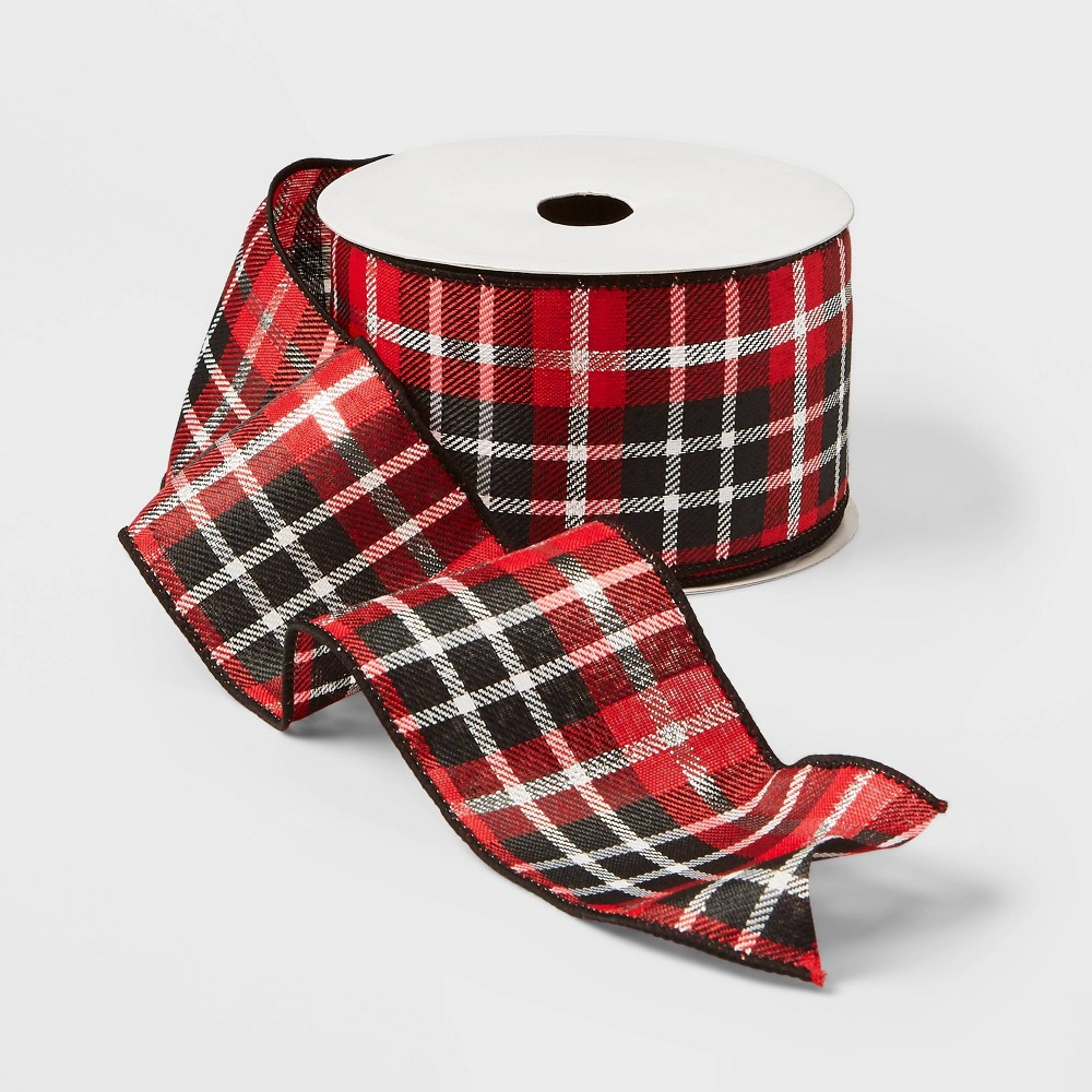 """Image of """"2.5"""""""" Plaid Ribbon Red Silver and Black 21ft - Wondershop , Red Silver Black"""""""