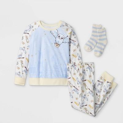 Girls' Harry Potter 2pc Pajama Set with Socks - White