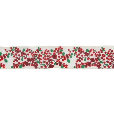"Northlight Red Berries on Branches Christmas Wired Craft Ribbon 2.5"" x 16 Yards"