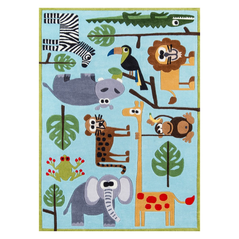 4'X6' Animal Print Tufted Area Rug Blue - Momeni