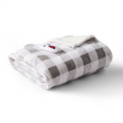 Velour with Sherpa Buffalo Check Electric Throw (62 x50 )Gray & White - Biddeford Blankets