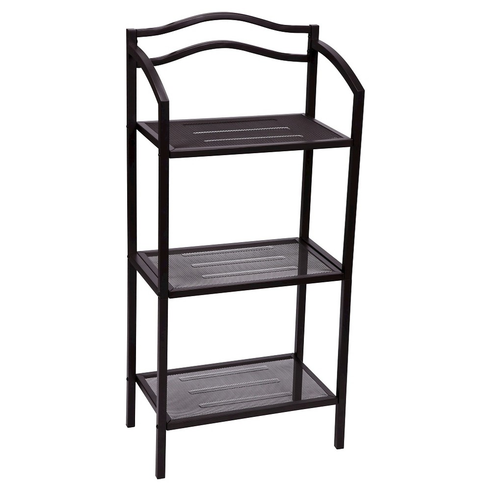 Image of Household Essentials 3-Tier Decorative Shelving Unit - Brown