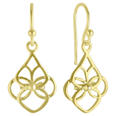 Women's Open Cut Design Drop Earrings with 14K Gold Plating in Sterling Silver - Gold - image 1 of 1