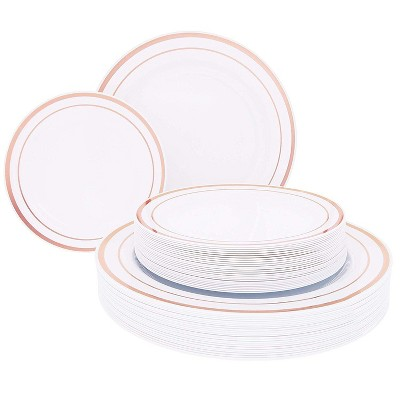 "Juvale 50-Pack Disposable Plastic Dessert Dinner Plates Party Supplies, White with Gold Rim 7.5"" & 10.25"""