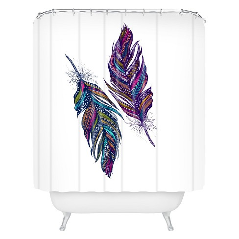 Stephanie Corfee Festival Feathers Shower Curtain Purple