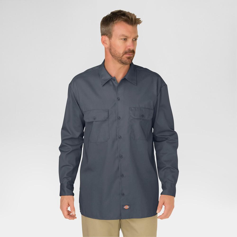 Dickies Men's Big & Tall Original Fit Long Sleeve Twill Work Shirt- Charcoal (Grey) Xxxl