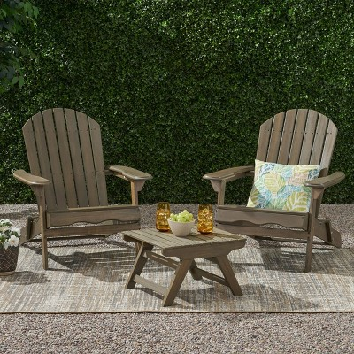 Malibu 3pc Acacia Wood Chat Set - Gray - Christopher Knight Home