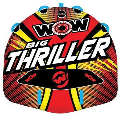 WOW Watersports Big Thriller Inflatable 2-Person Towable Water Boating Deck Tube with Nylon Cover and Speed Valve