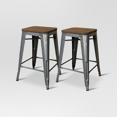 "Set of 2 Hampden Industrial 24"" Counter Height Barstool Natural Metal - Threshold™"