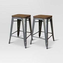 Groovy Carlisle 24 Metal Counter Stool Teal Set Of 2 Andrewgaddart Wooden Chair Designs For Living Room Andrewgaddartcom