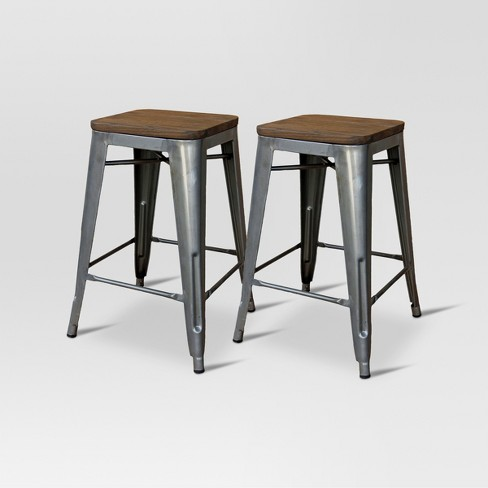 Pleasant Hampden Industrial Wood Top 24 Counter Stool Metal Threshold Pdpeps Interior Chair Design Pdpepsorg