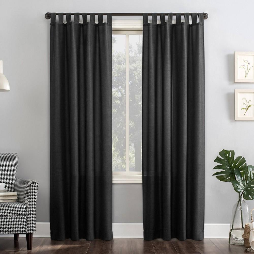 "Image of ""40""""x84"""" Joshua Heathered Texture Tab Top Semi-Sheer Curtain Panel Coal Gray - No. 918, Size: 40""""x84"""", Grey Gray"""