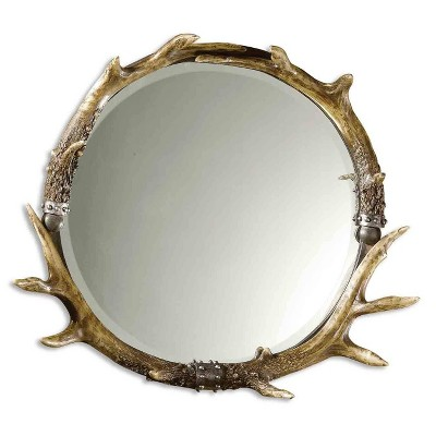 Round Stag Horn Decorative Wall Mirror - Uttermost
