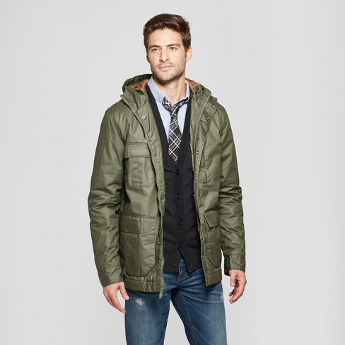 Men's Waxy Cotton Short Parka - Goodfellow & Co™ Olive - image 1 of 2