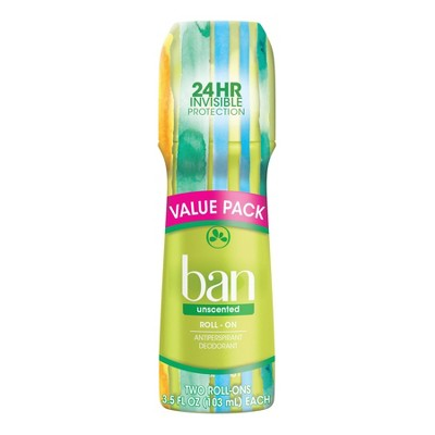 Ban Roll-On Unscented Antiperspirant & Deodorant for Women and Men - 3.5 fl oz