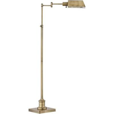 Regency Hill Modern Pharmacy Floor Lamp Aged Brass Adjustable Swing Arm Metal Shade for Living Room Reading Bedroom Office