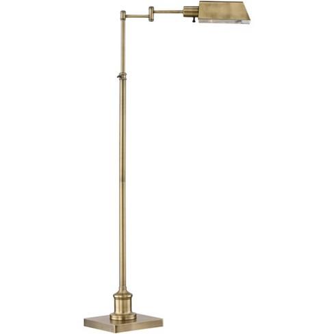 Regency Hill Modern Pharmacy Floor Lamp, Antique Brass Metal Adjustable Pole Pharmacy Desk Lamp