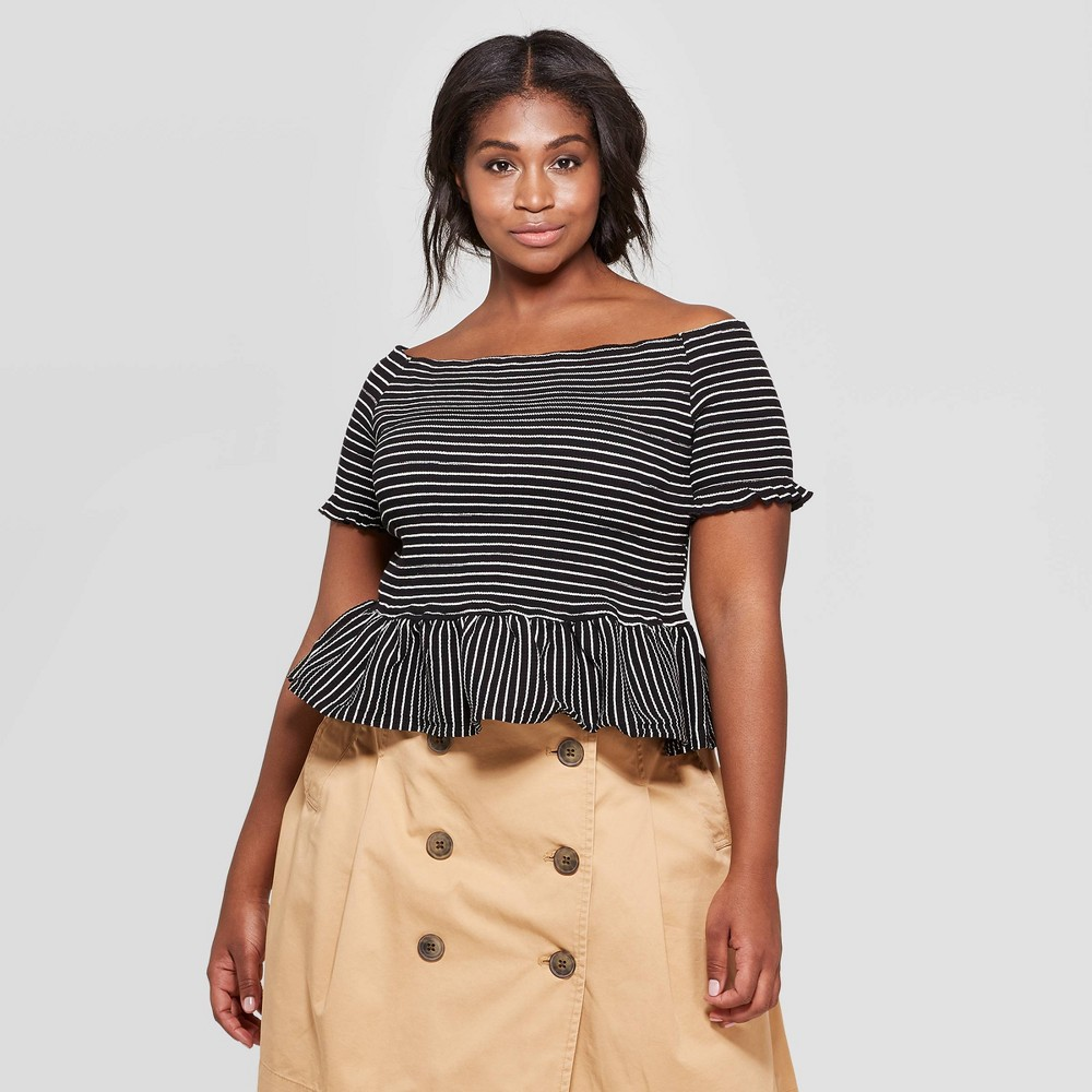 Women's Striped Plus Size Off the Shoulder Short Sleeve Smocked Peplum Top - Who What Wear Black X