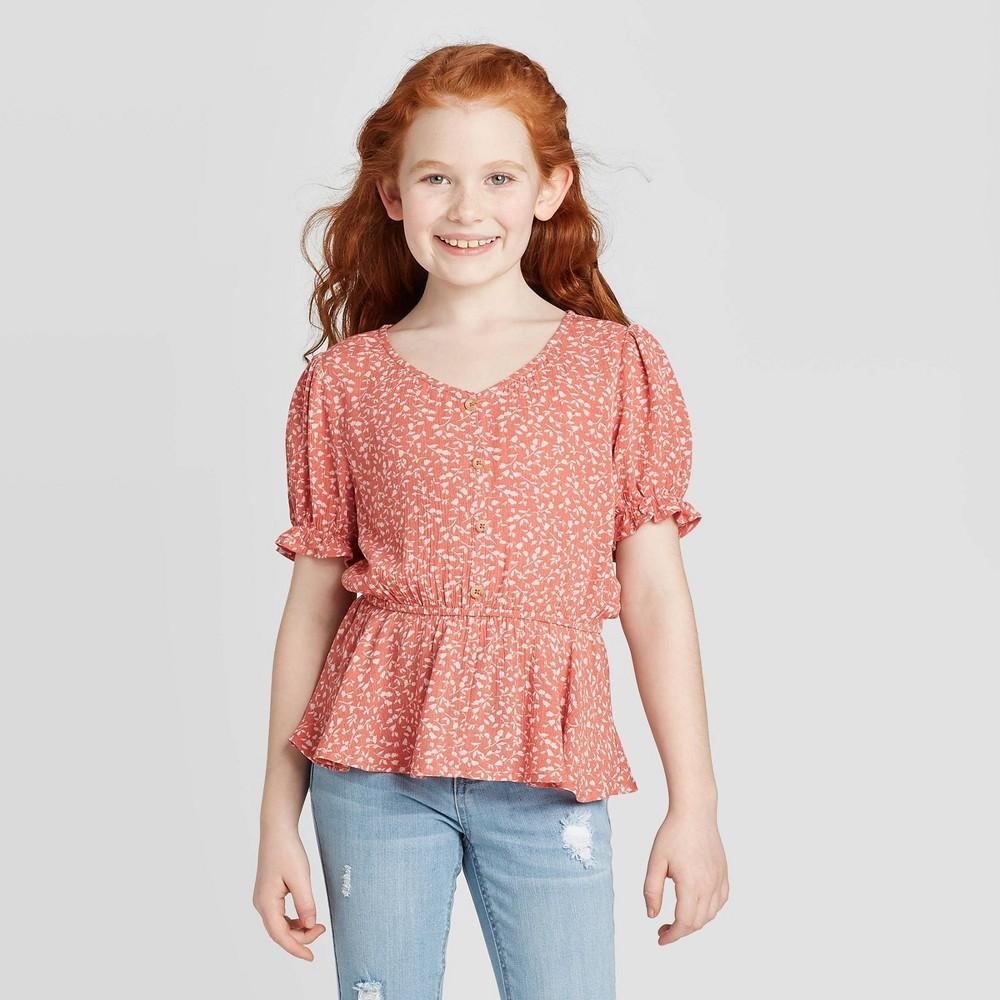 petiteGirls' Button-Front V-Neck Short Sleeve T-Shirt - art class Orange M, Girl's, Size: Medium was $16.99 now $11.04 (35.0% off)