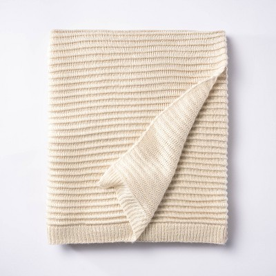 Rib Knit Throw Blanket Cream - Threshold™ designed with Studio McGee
