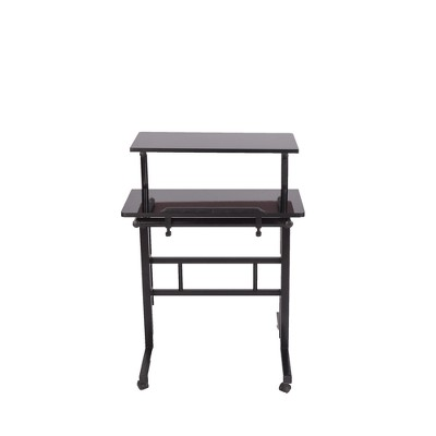 2 Tier Mobile Standing Desk with Platform Black - Mind Reader