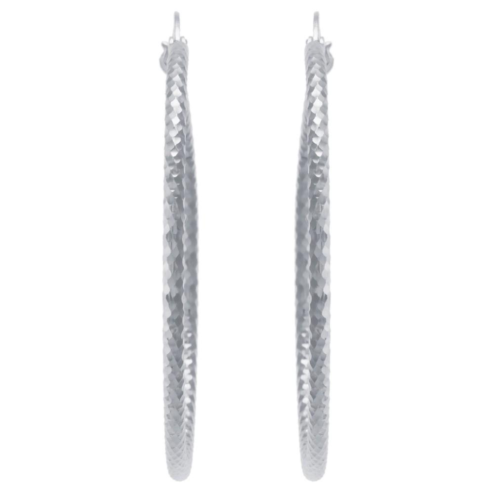 Women's Sterling Silver Diamond-Cut Click Top Hoop Earrings