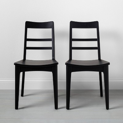 2pk Wooden Ladder Back Dining Chair Black - Hearth & Hand™ with Magnolia