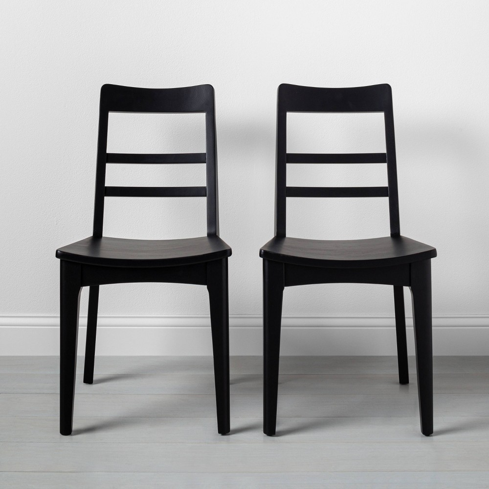 Image of Set of 2 Wooden Ladder Back Dining Chair Black - Hearth & Hand with Magnolia