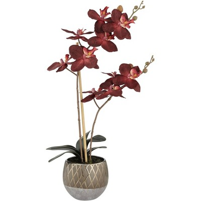 """Studio 55D Red Orchid 23"""" High Faux Flowers in Ceramic Pot"""