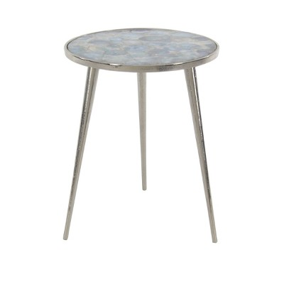 Contemporary Agate Tripod Side Table Silver - Olivia & May