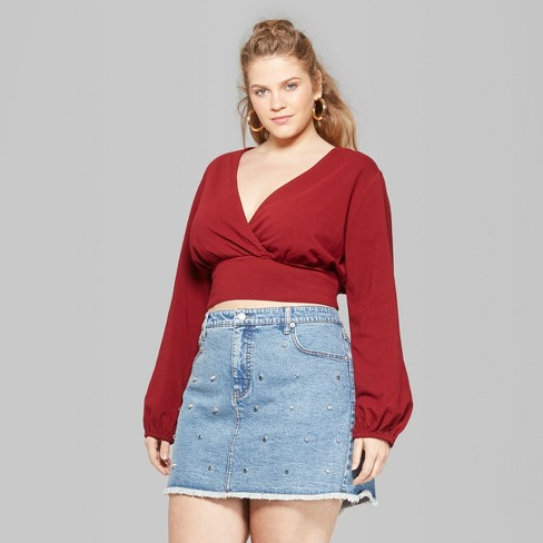 a0cce616f86561 Women's Plus Size Long Sleeve Wrap Top - Wild Fable™ Red : Target
