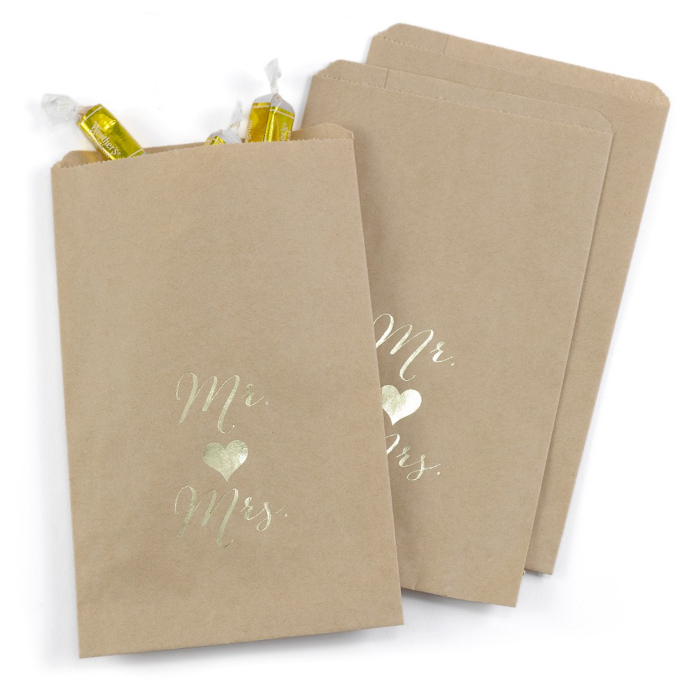 Image of 25ct Mr and Mrs Treat Bags Kraft, Earth