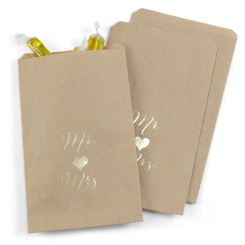 25ct Mr and Mrs Treat Bags - Kraft - image 1 of 1