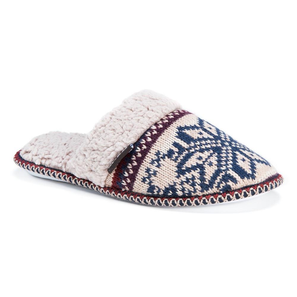 Women's Muk Luks Fair Isle Knit Scuff Slide Slippers - White M(7-8), Size: M (7-8)