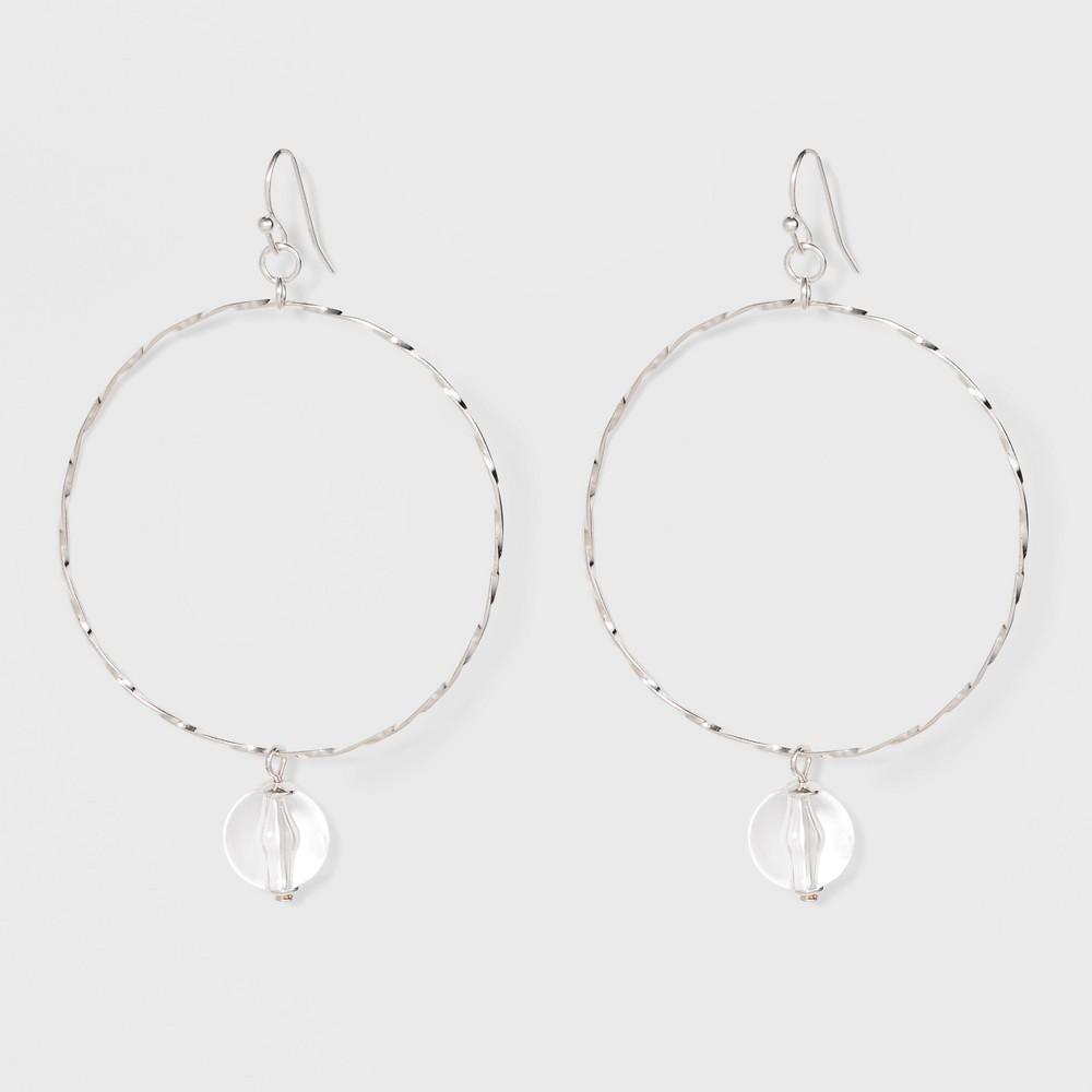 Image of Acrylic Bead Thin Wire Hoop Earrings - A New Day Silver