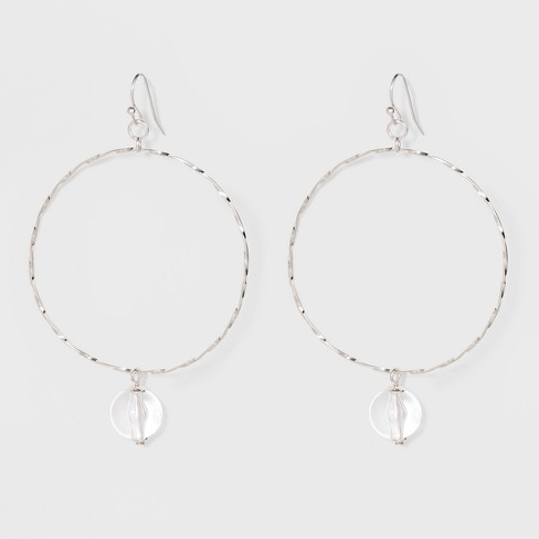 Acrylic Bead Thin Wire Hoop Earrings - A New Day™ Silver - image 1 of 2